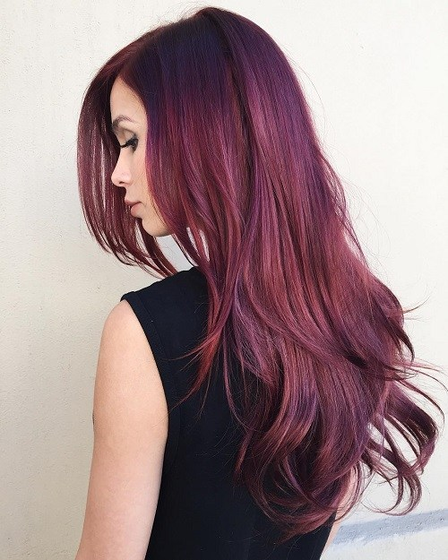 Side-Parted-Burgundy-Hairstyle 14 gorgeous Hairstyles and Haircuts for Long Straight Hair