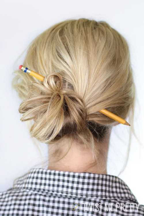 The-Pencil-Knot 12 Stunning Updos For Medium Length Hair