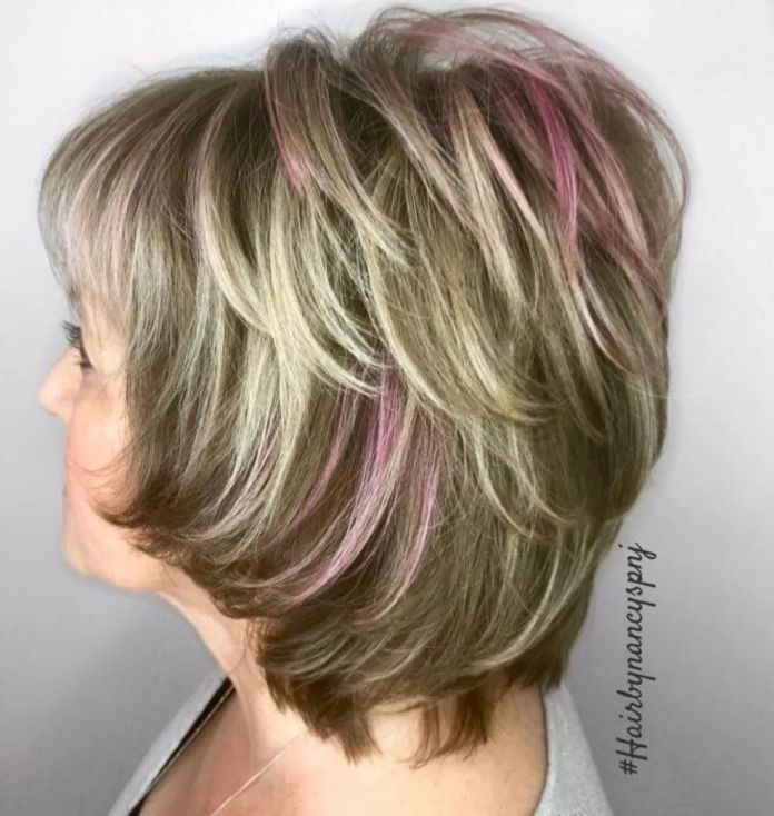 Thick-Hair-Shag-with-Pink-Highlights Shaggy Hairstyles for Women with Fine Hair over 50