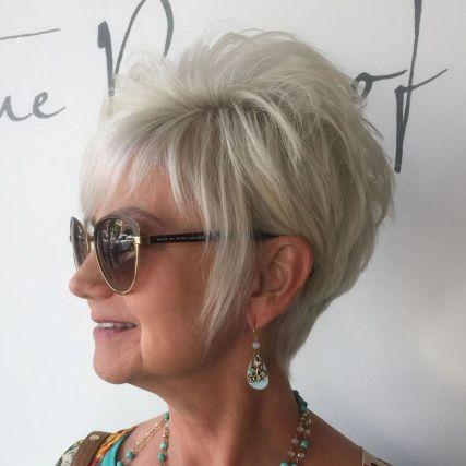 Voluminous-Gray-Pixie-Cut 15 Beautiful pixie cuts for older women