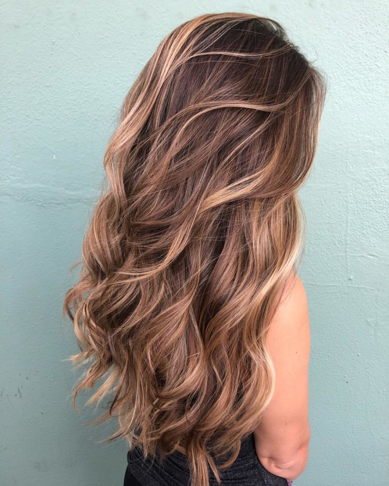 Waterfall-Highlights-in-a-Long-Hairstyle Trendy and Stunning Long Hairstyles 2020