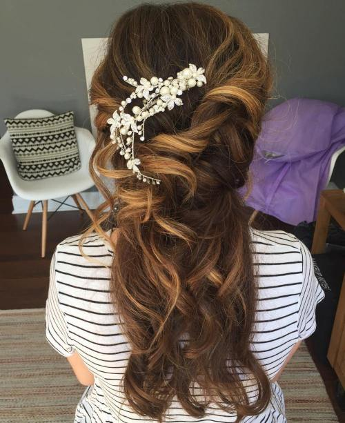 Accessorized-Undone-Waves 15 Stylish Half Up Half Down Wedding Hairstyles for Brides