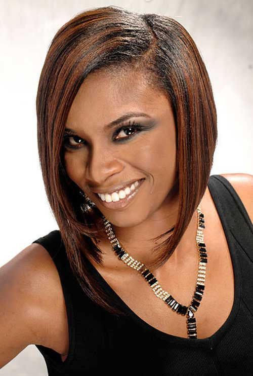 Angled-Haircut-with-Caramel-Highlights-for-Black-Women Nice Short Bobs for Black Women
