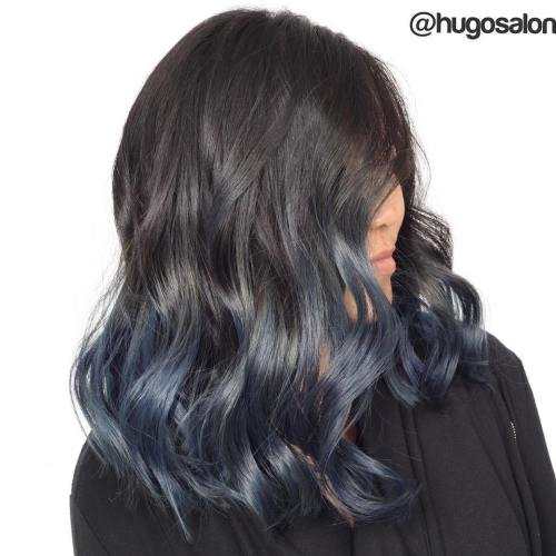 Black-Hair-with-Blue-Grey 14 Eye-catching Blue Ombre Hairstyles