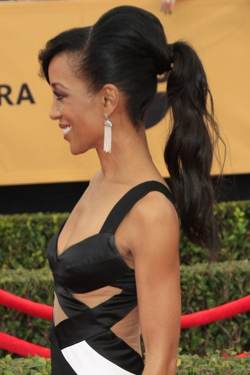 Black-Ponytail-Hairstyle-with-a-Bouffant Classy Ponytail Hairstyles for Black women