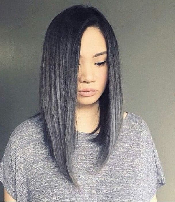 Black-to-Silver-Straight-Long-Bob Enthralling Long and Straight Hair Ombre for Women