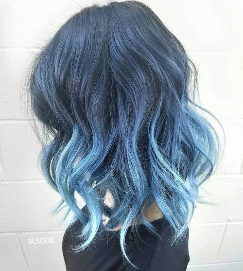 Blue-on-Blue-Ombre 14 Eye-catching Blue Ombre Hairstyles