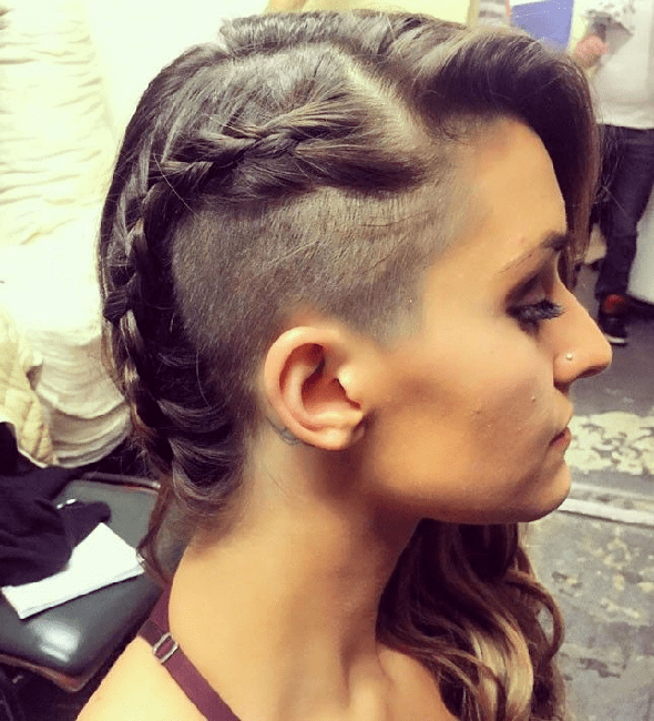 Braided-Look Brilliant Half Shaved Head Hairstyles for Young Girls