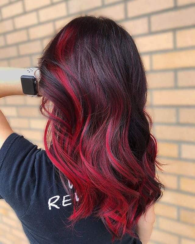 Bright-Red-Waves Gorgeous Black Hairstyles with Highlights