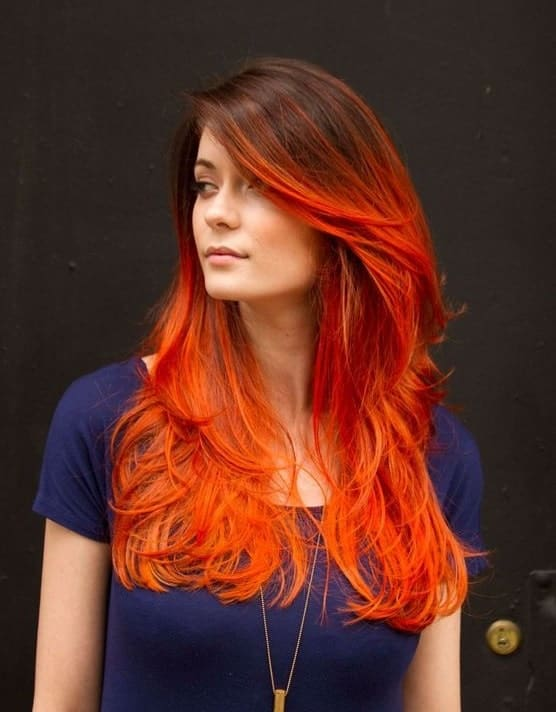 Brown-and-Orange-Ombre Orange Ombre Hair – 12 Revolutionary Ideas to Rock