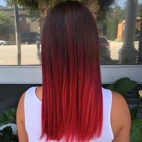Brown-to-Neon-Red-Ombre Enthralling Long and Straight Hair Ombre for Women