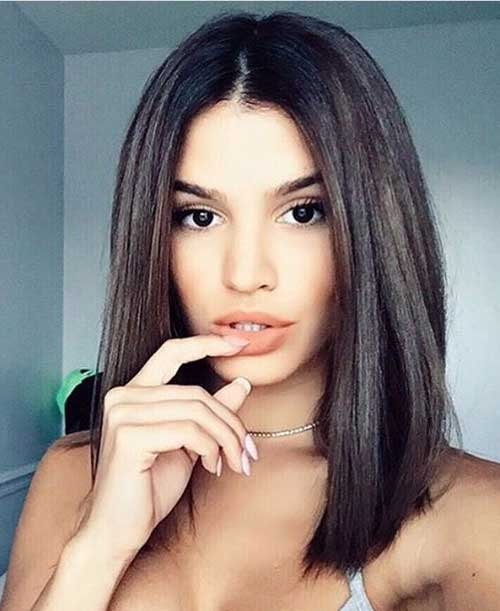 Brunette-and-Straight-to-The-Point Most Hottest and Sexiest Long Bob Haircuts