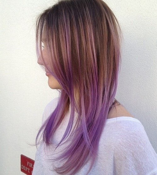 Caramel-with-Lavender-Highlights Enthralling Long and Straight Hair Ombre for Women