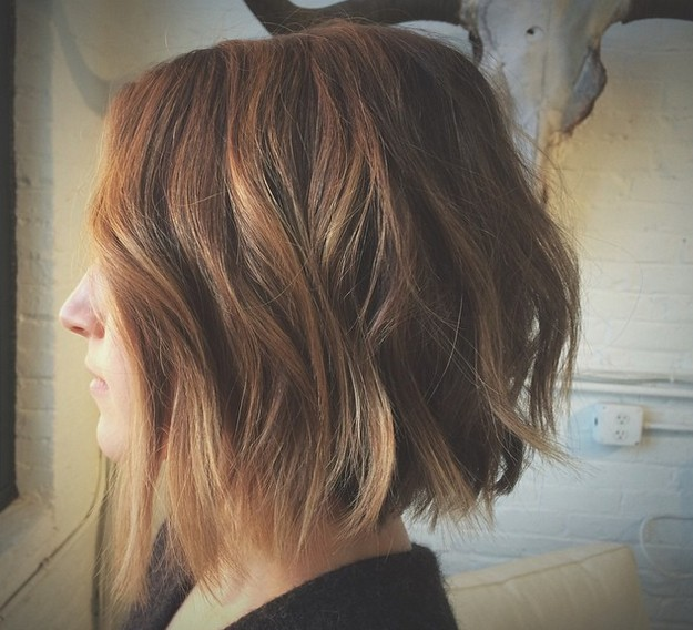 Choppy-Light-Brown-Bob-with-Light-Waves Gorgeous Choppy layered bobs in 2020