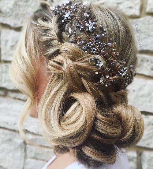 Chunky-Curls-and-Crown-Braid 14 Gorgeous Wedding Hairstyles for Long Hair