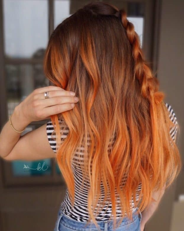 Copper-Ombre-with-a-Braid Orange Ombre Hair – 12 Revolutionary Ideas to Rock