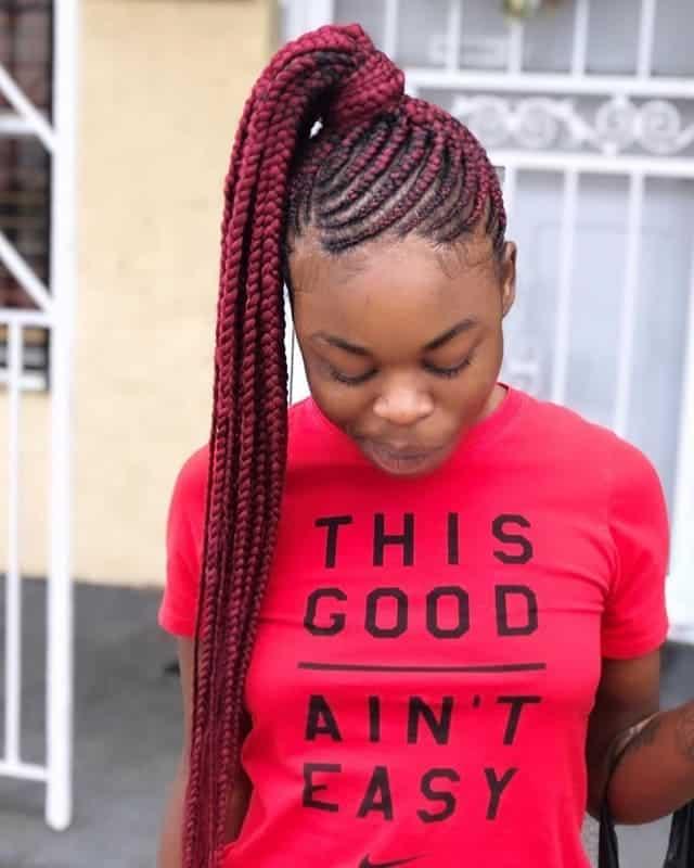 Cornrow-Pony Stunning Ponytail Hairstyles for Black Women