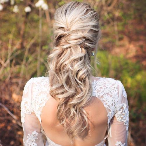 Crisscrossed-Half-Up-Wedding-Hair 15 Stylish Half Up Half Down Wedding Hairstyles for Brides