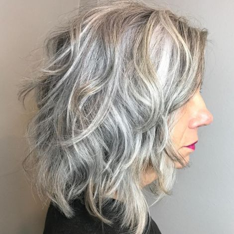 Curly-Gray-Shag-Over-60 Hairstyles for Women Over 60
