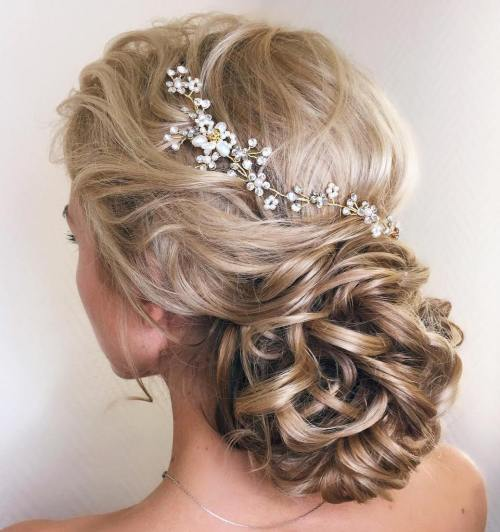 Curly-Low-Bun 14 Gorgeous Wedding Hairstyles for Long Hair