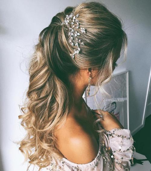 Curly-Ponytail-for-Long-Hair 15 Stylish Half Up Half Down Wedding Hairstyles for Brides