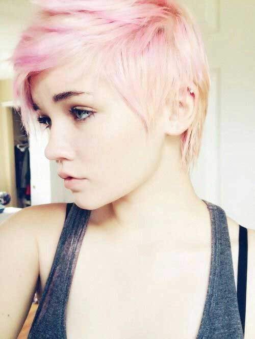 Cute-Short-Blonde-and-Soft-Pink-Hairstyle Short Blonde And Pink Hairstyles
