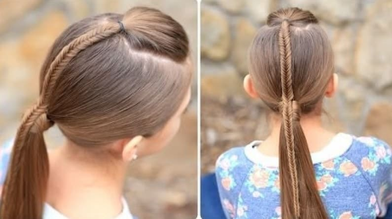Fishtail-Accented-Ponytail Cutest Braided Hairstyles for Little Girls Right Now