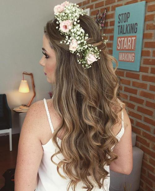 Floral-Crown-Half-Up-Half-Down-Hair 15 Stylish Half Up Half Down Wedding Hairstyles for Brides