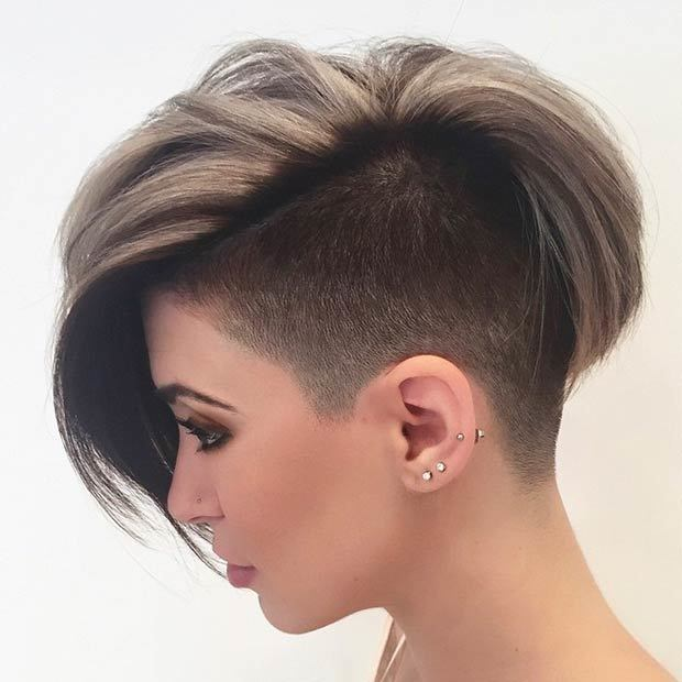 Half-Shaved-Bob-Cut Brilliant Half Shaved Head Hairstyles for Young Girls