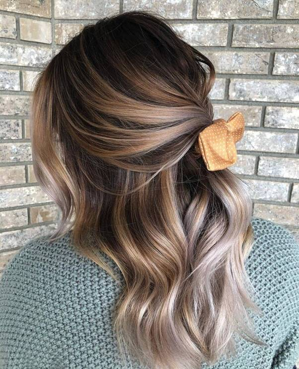 Half-Up-Hairstyle Bewitching Brunette Ombre Hair Ideas (2020 Guide)