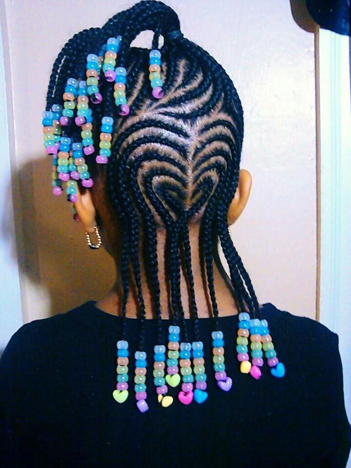 Heart-Shaped-Cornrows Cutest Braided Hairstyles for Little Girls Right Now