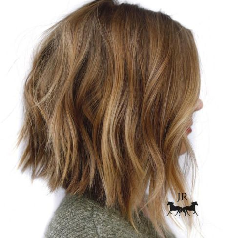 Honey-Blonde-Chopped-Angled-Bob Gorgeous haircuts for thick hair of medium length in 2020