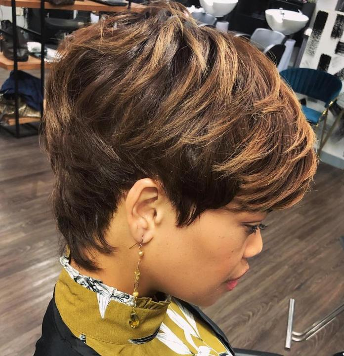 Layered-and-heavily-textured 10 Short Haircuts For Black Women To Look Stylish