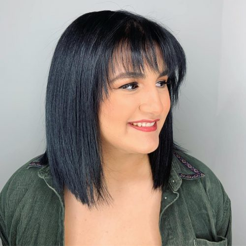 Layered-bob-with-full-fringe 12 Best hairstyles for square faces