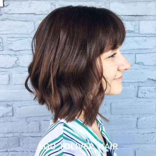 Long-angled-bob-with-bangs 13 On-trend Bobs and their variations in 2020