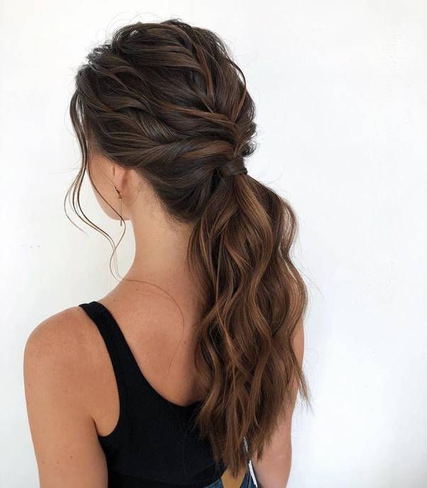 Low-Ponytail-with-Soft-Curls Bewitching Brunette Ombre Hair Ideas (2020 Guide)