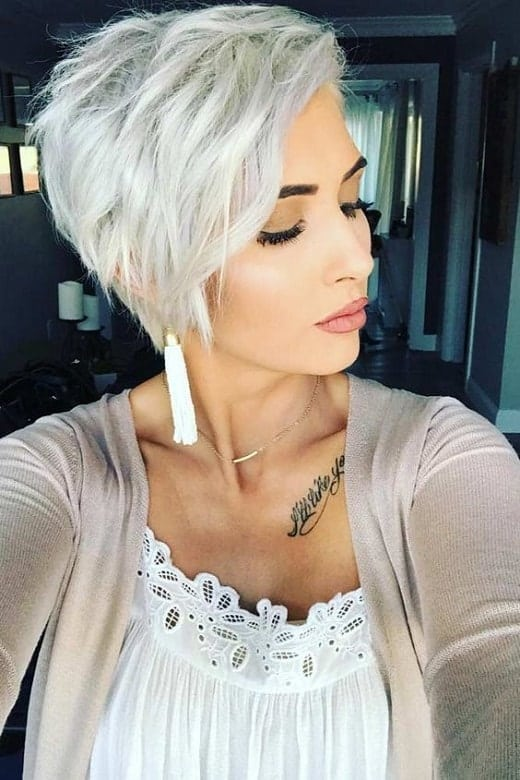 Messy-and-Layered-Pixie Icy Blonde Hairstyles That'll Convince You to Go White