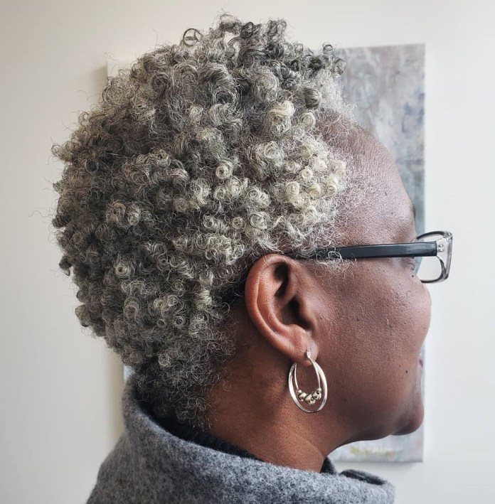Natural-coils-and-natural-grays 10 Short Haircuts For Black Women To Look Stylish