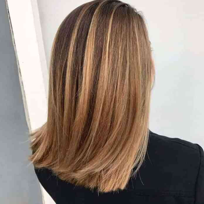 Neatly-Trimmed Attractive Medium Brown Hairstyles with Blonde Highlight