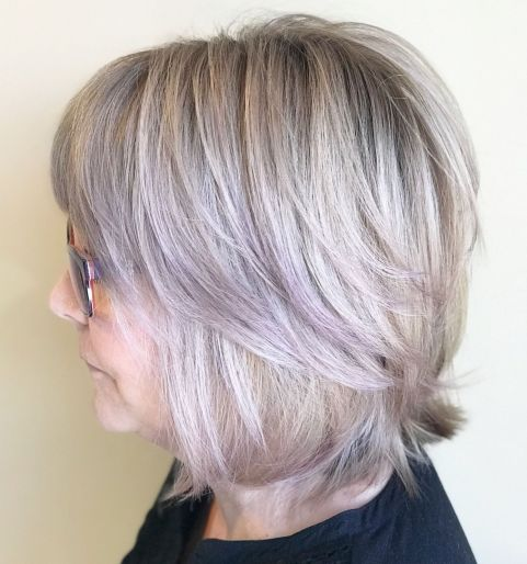 Neck-Length-Choppy-Haircut 10 Flattering and Stylish Hairstyles for Women over 50 with Glasses