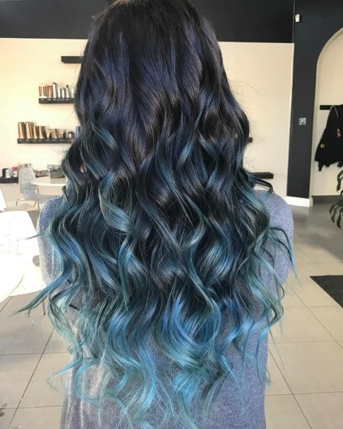 Oil-Slick-Ombre 14 Eye-catching Blue Ombre Hairstyles