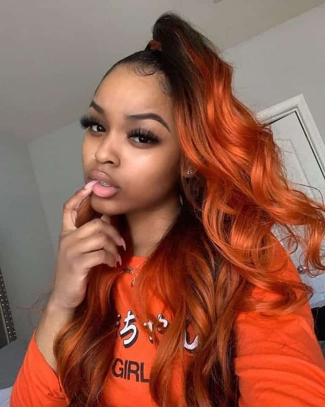 Orange-Ombre-Hairstyle Stunning Ponytail Hairstyles for Black Women