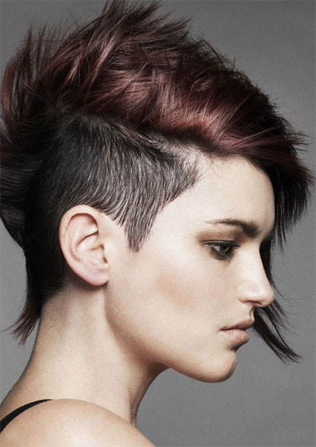 Pointed-Layers Brilliant Half Shaved Head Hairstyles for Young Girls