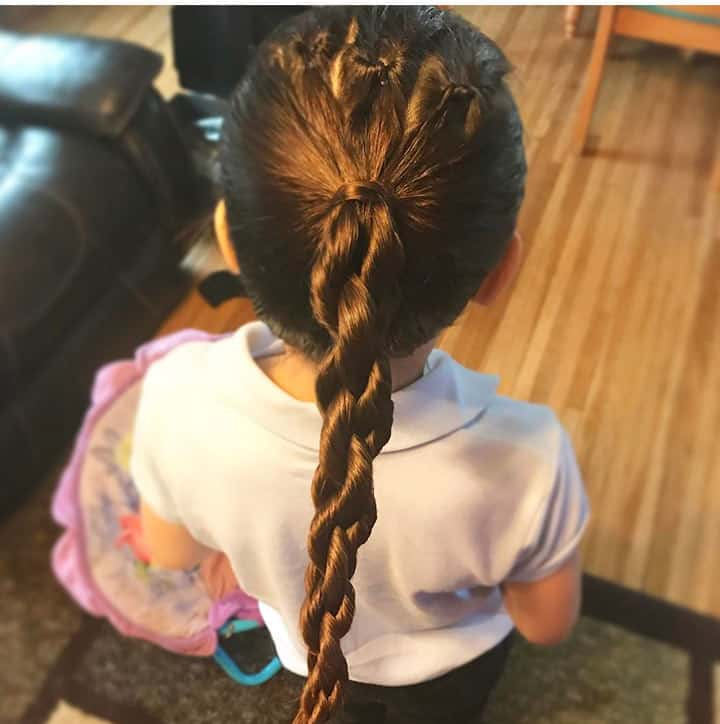 Ponytail-with-Knott-Braid Cutest Braided Hairstyles for Little Girls Right Now