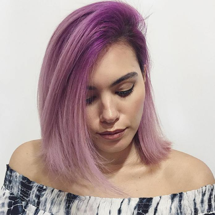 Purple-Merged-into-Dusty-Pink Cute Medium Length Hairstyles to Glam Up Your Look