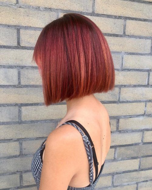 Red-Blunt-Bob Amazing Medium Length Bob Hairstyles to Explore