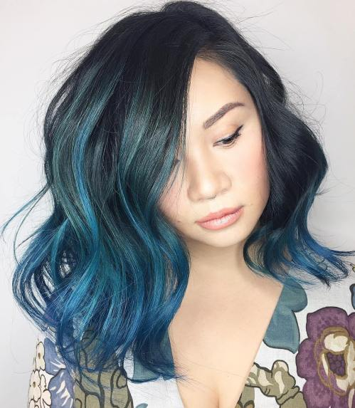 Side-Parted-Ombre-Lob 14 Eye-catching Blue Ombre Hairstyles