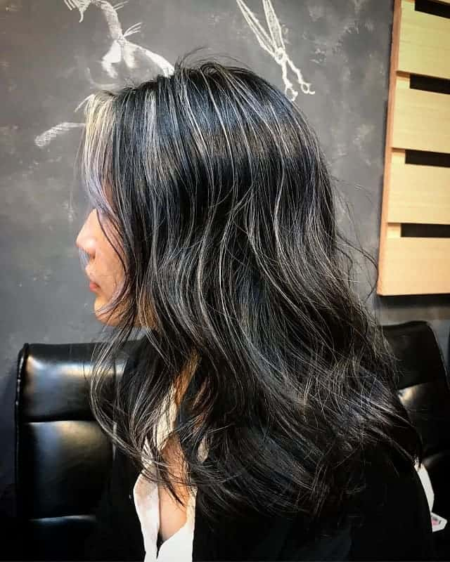 Silver-Highlights-in-Longer-Hair Gorgeous Black Hairstyles with Highlights