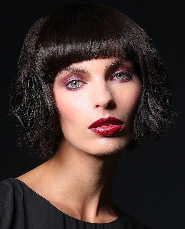 Sleek-Bangs-and-Wavy-Bob Flattering Wavy Bob Hairstyles for Women