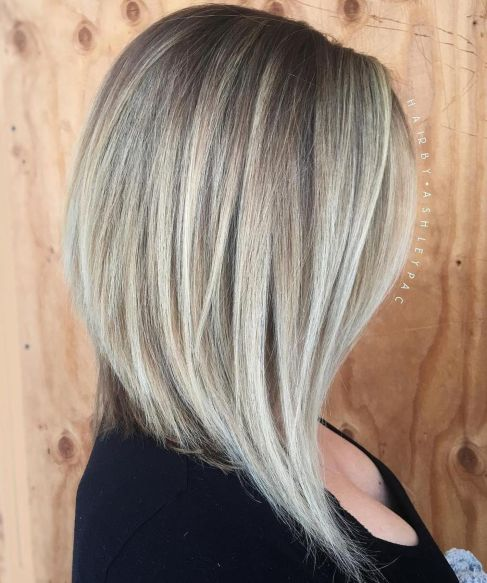 Soft-and-Feminine-Angled-Lob Gorgeous haircuts for thick hair of medium length in 2020